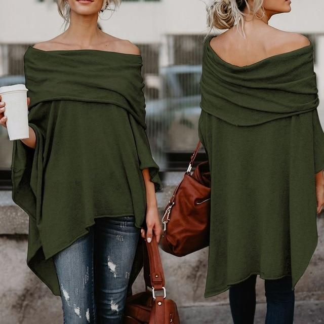 Fashion Tops for Women Solid Long Sleeve Off Shoulder Pullover Festivalsrricdress-rricdress