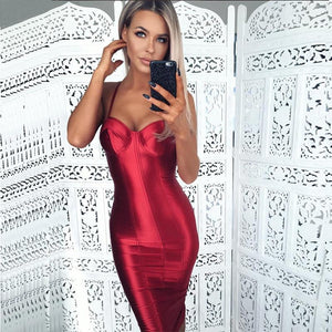 Sexy Spaghetti Straps Bodycon Red Party Dress Open Back Satin Gold Blackrricdress-rricdress