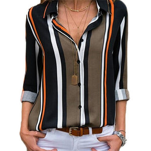 Ladies Blouse Casual Striped Print Long Sleeve Blouse Turn Down Collar Officerricdress-rricdress