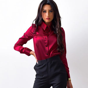 2018 New Women Office work shirts female elegant high quality silk satinrricdress-rricdress