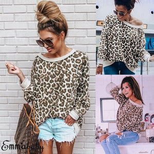 Hirigin Off Shoulder Shirt Fall 2018 New Brand Women Leopard Print Longrricdress-rricdress