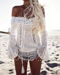 Boho Women Off Shoulder Casual Solid Shirts Lace Top Tees Blouse Topsrricdress-rricdress