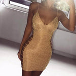 Women Sexy Bodycon Dress Sleeveless V Neck Spaghetti Strap Stretchy Package Hiprricdress-rricdress