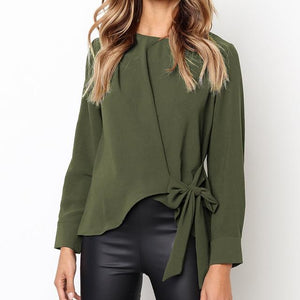 Autumn Women Shirts Tops Long Sleeve Bow Solid Blouse Female Elegant Casualrricdress-rricdress
