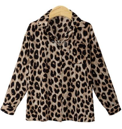 2018 Women Blouse Leopard Print Shirt Long sleeve Turn-down Collar Top Looserricdress-rricdress
