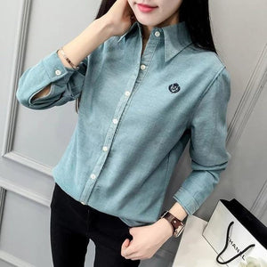 New arrival fashion women's casual Warm Shirt Long Sleeve Winter Slim embroideryrricdress-rricdress