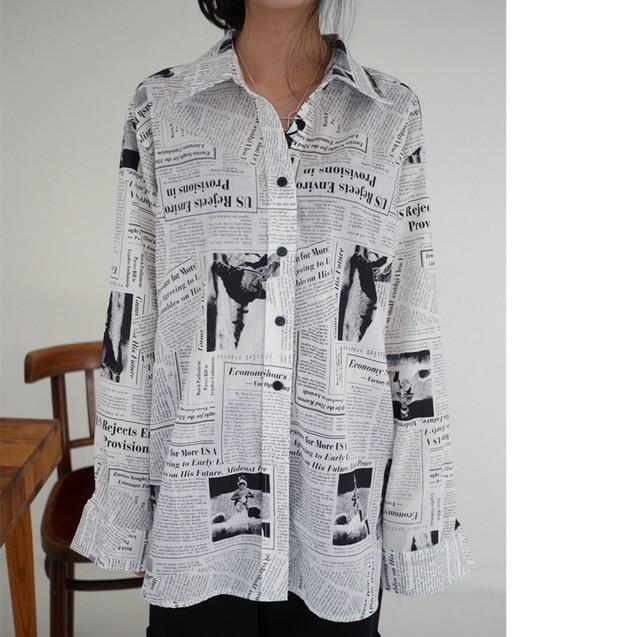 Black white Letter poster Printed Loose Casual Long Sleeve Shirt Female's Blouserricdress-rricdress