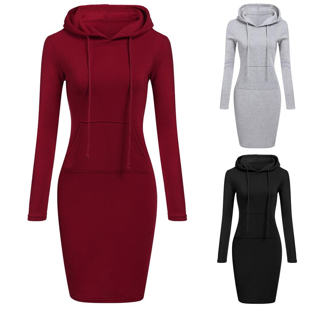 2018 New Fashion Autumn Winter Dress Casual Solid Long Sleeve Sweatershirts Dressrricdress-rricdress