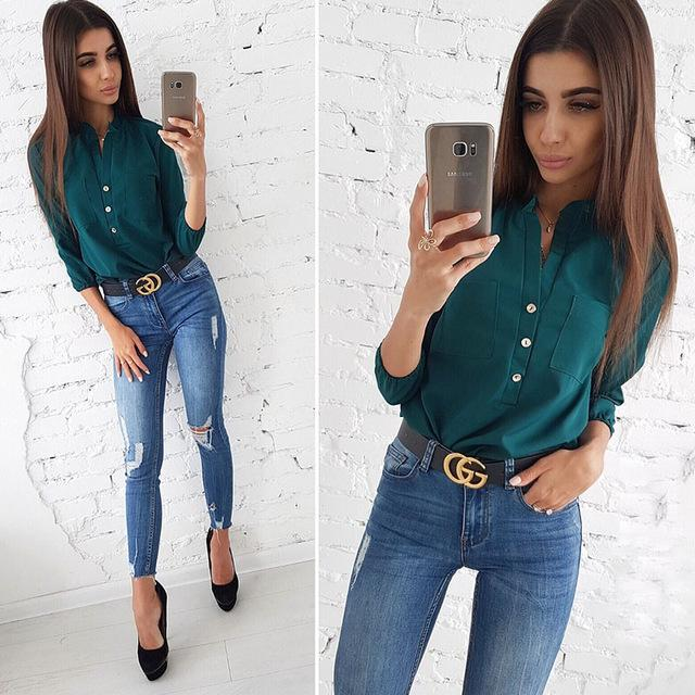 Women Casual Pockets Shirts Blouse Three Quarter Turn Down Collar Button Solidrricdress-rricdress