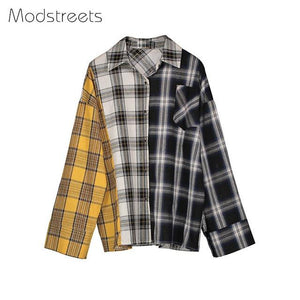 QUEENUS Spring Plaid Shirts Women Color Blocking Yellow Button Blouse Loose Casualrricdress-rricdress