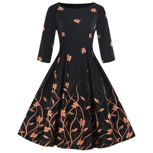 Floral Print Women Vintage Dress Rockabilly Swing Retro Dress Round Neckrricdress-rricdress