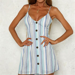 Women's Holiday Summer Dress 2018 New Fashion Ladies Sleeveless Spaghetti Striped Cocktailrricdress-rricdress