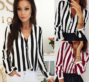 New Fashion Women V-Neck Blouse Shirt Loose Long Sleeve Female Sexy Stripedrricdress-rricdress
