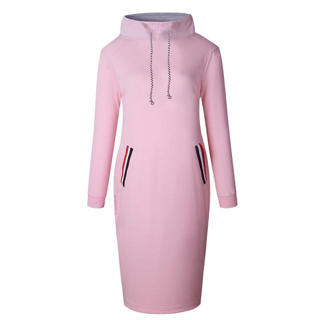 Zebery Long Sleeve Sweatshirt Dress High Quality Cotton Turtleneck Empire Casual Dressrricdress-rricdress