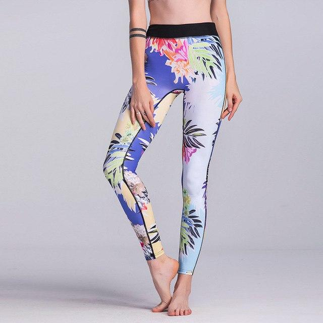 2018 Women High Quality capris High Waisted Floral Printing Pants Lady's Fitnessrricdress-rricdress