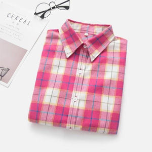 Women's Shirts 2018 Autumn and Winter female shirt plaid shirt women slimrricdress-rricdress