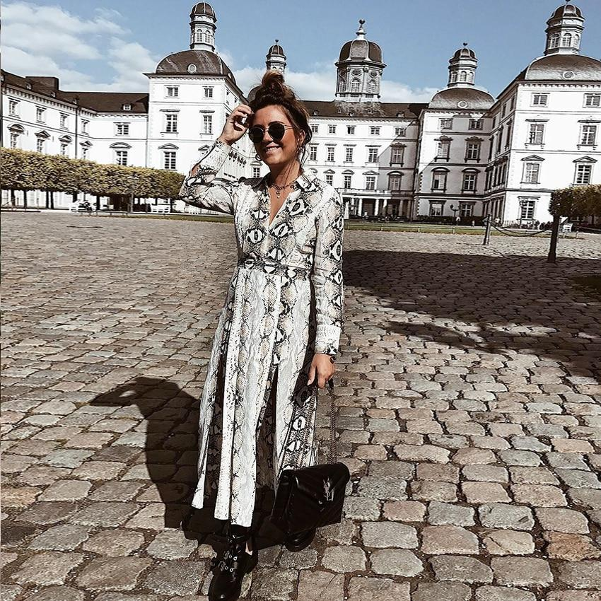 Autumn Vintage Snakeskin Printed Shirts Dresses Asymmetrical Patchwork Turn down collarrricdress-rricdress