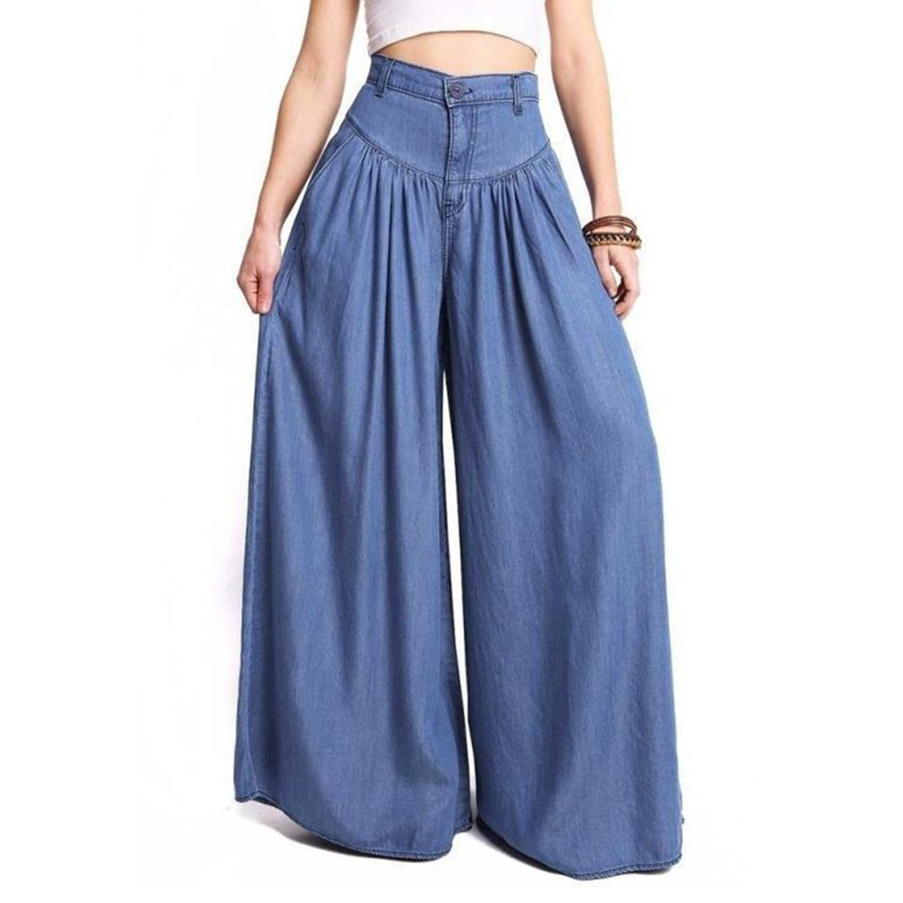 Women Denim Blue Black Wide Leg Pants High Waist Long Harem Pantsrricdress-rricdress