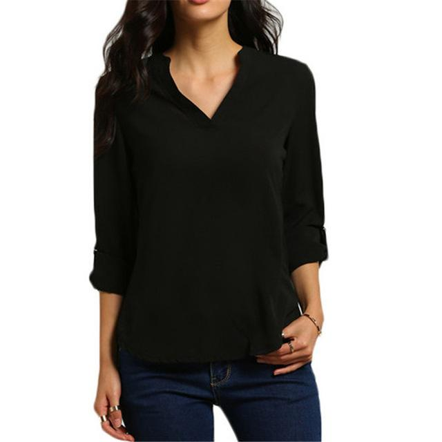 Autumn Women V-neck Chiffon Blouse 3/4 Sleeve Female Solid Casual Shirt Largerricdress-rricdress