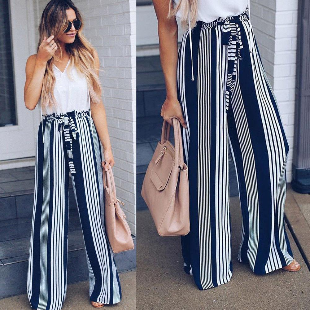 2018 New Brand Striped Women High Palazzo Pants Wide Leg Loose Striperricdress-rricdress