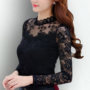 Fashion Women's Blouse 2018 Women Elegant Black White Tops Shirts Crochet Longrricdress-rricdress