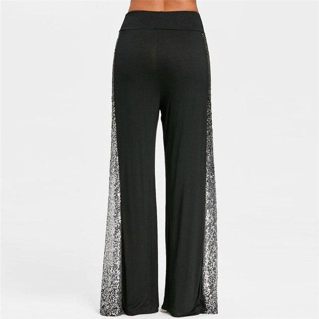 Fashion Womens Pants Casual Solid Wide Leg Pants Gradient Sequins Insert Maxirricdress-rricdress