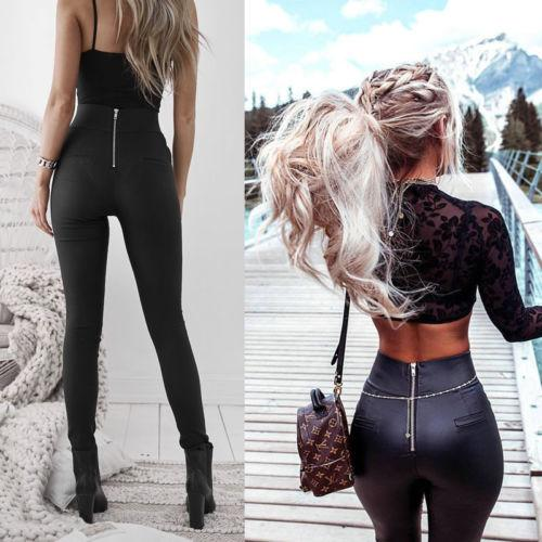 Womens Lady Leather Sexy Skinny Stretch Slim High Waist Trousers Pencil Pantsrricdress-rricdress