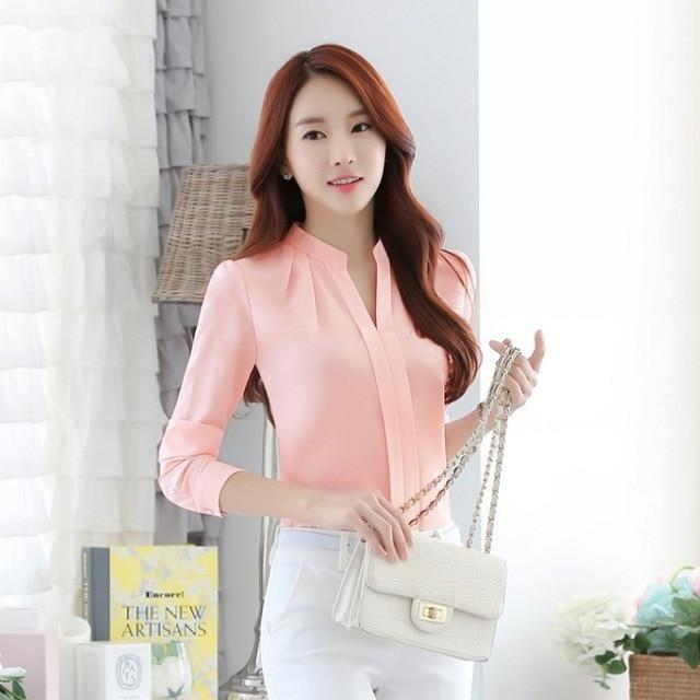 Spring Autumn Office Lady Shirt Women Long Sleeve Chiffon Blouse Women V-Neckrricdress-rricdress