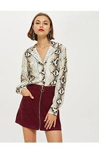 New fall 2018 season women's sexy chiffon top Bohemian snakeskin print long-sleevedrricdress-rricdress