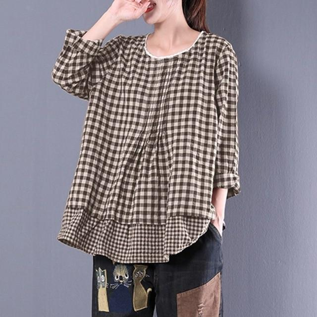 2018 Autumn Women Long Sleeve Plaid Check Blouse Casual Lace Crochetrricdress-rricdress