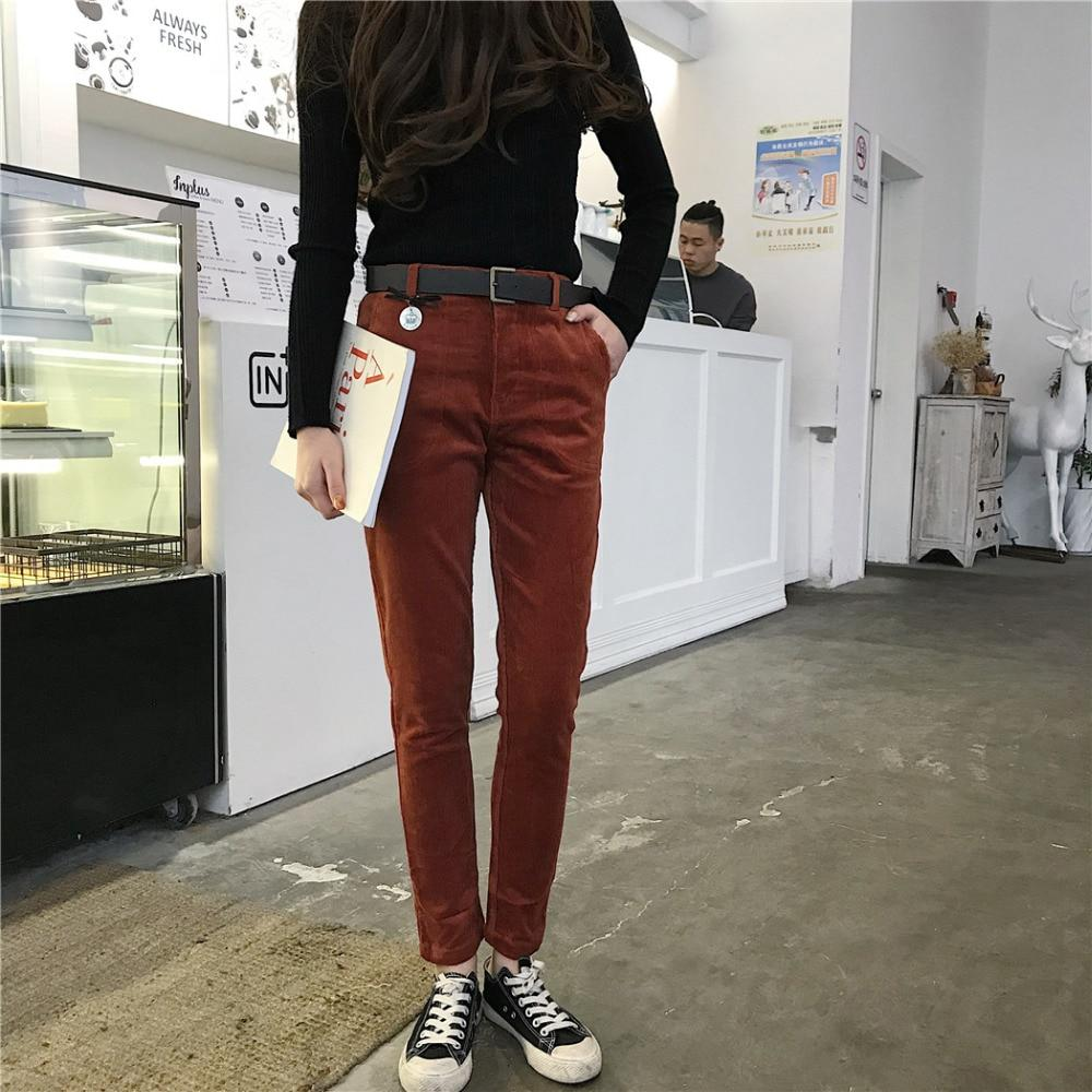 2018 women corduroy pants Ankle-length female casual pants skinny pencil mid waistrricdress-rricdress