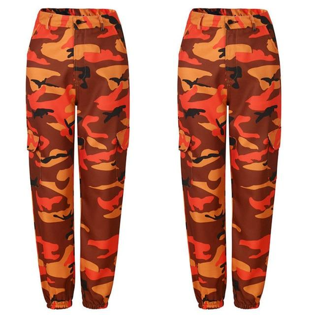 2018 Fashion Womens Orange Camo Cargo Trousers Casual Pants Woman Military Armyrricdress-rricdress