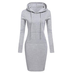 Zebery Autumn Winter Warm Sweatshirt Long-sleeved Dress 2018 Woman Clothing Hooded Collarrricdress-rricdress