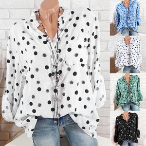 4XL Plus Size Women Shirt Polka Dot Print Blouses Fashion V Neckrricdress-rricdress
