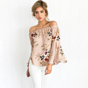 Spring Summer Sexy Women's Sexy Off Shoulder Tops Long Sleeve Blouse Casualrricdress-rricdress