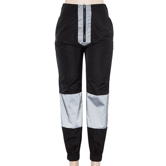 Reflective Fabric Patchwork Hip Hop Harem Pants Harembroek Summer Pants Breech Zipperrricdress-rricdress