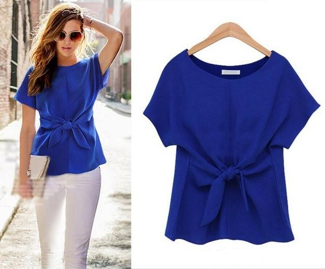 2018 Fashion Women Kimono Bowknot Blouses O-neck Short Sleeve Shirts Chiffon Casualrricdress-rricdress