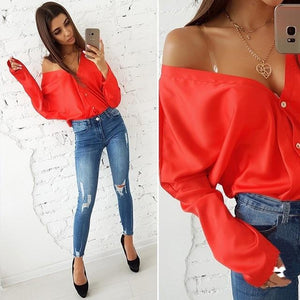 Autumn tops 2018 fashion solid color sexy deep V-neck off shoulder longrricdress-rricdress