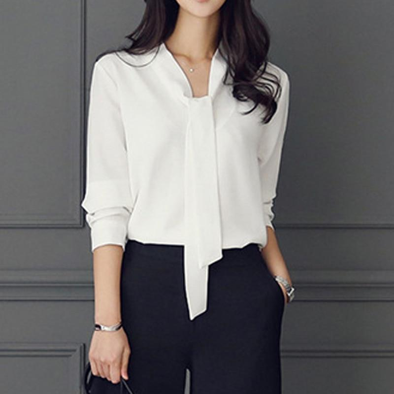 Zebery Tie Collar Simple Business Style Blouse Shirt Long Sleeve Woman Highrricdress-rricdress