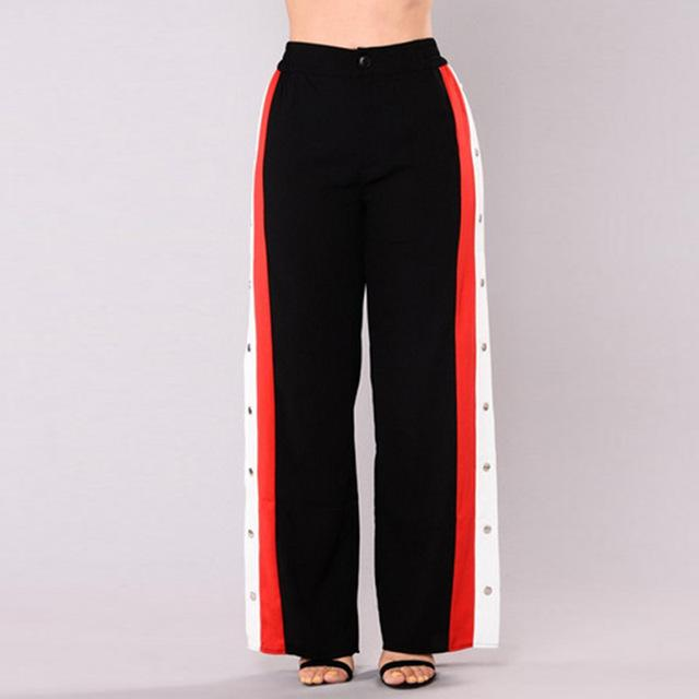 Stripe Patchwork Red-White-Black Rivet Side Slit Elastic Waist Casual Long Pants 2018rricdress-rricdress