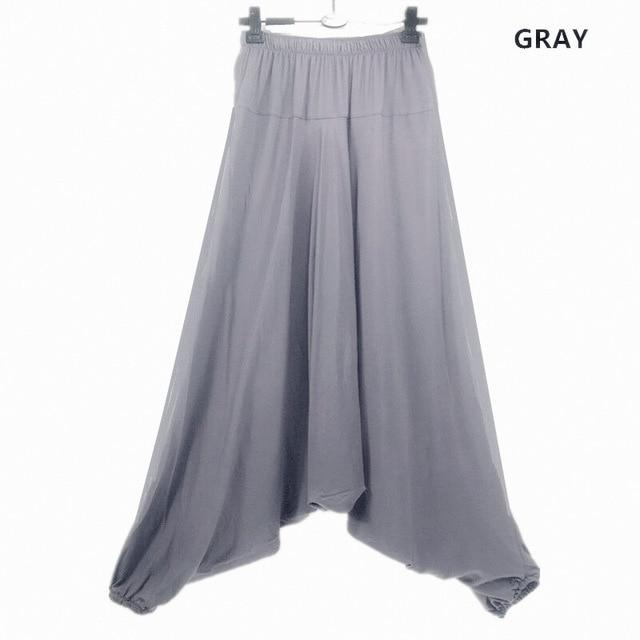 Women Harem Pants Casual Loose Cotton Solid Elastic Waist Wide Leg Pantsrricdress-rricdress