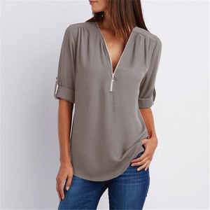 Women Chiffon Blouse 2018 Summer Elegant Solid V-Neck Zipper Blouse Shirt Looserricdress-rricdress