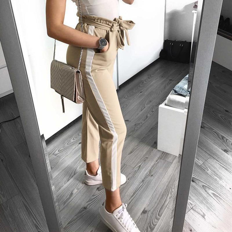 Casual Side Striped Patchwork Women Pencil Pants Bandage Bow Tie High Waistrricdress-rricdress