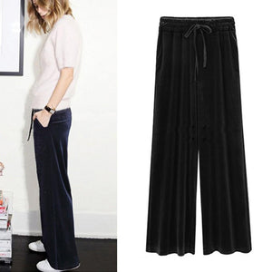 Fahion Women Gold Velvet Pants Loose Wide Leg Trousers Wide-legged Causal Pantrricdress-rricdress