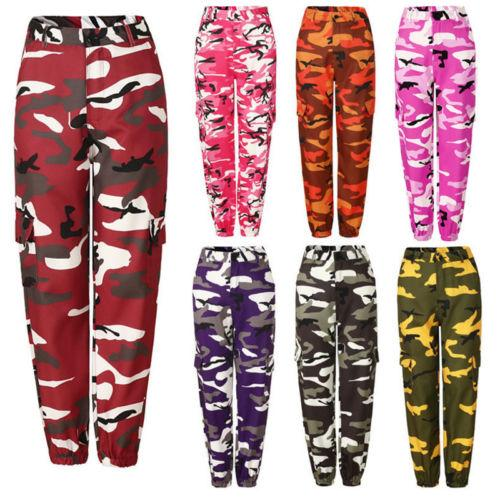 Fashion Womens Camo Cargo Trousers Casual Pants Military Army Combat Camouflage Joggerrricdress-rricdress