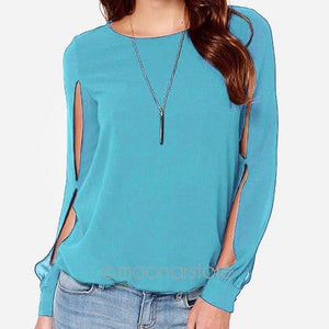 Wholesale New Fashion Ladies Blouse Women Loose Long Sleeve O-Neck Shirtsrricdress-rricdress