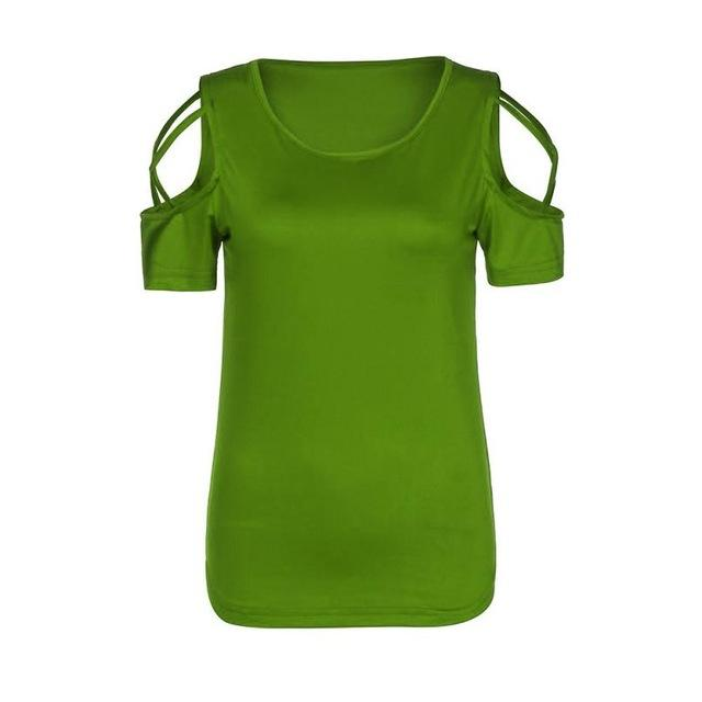 Sexy Tee Women Shirt Tops and Blouses Summer Cold Shoulder Tops O-neckrricdress-rricdress