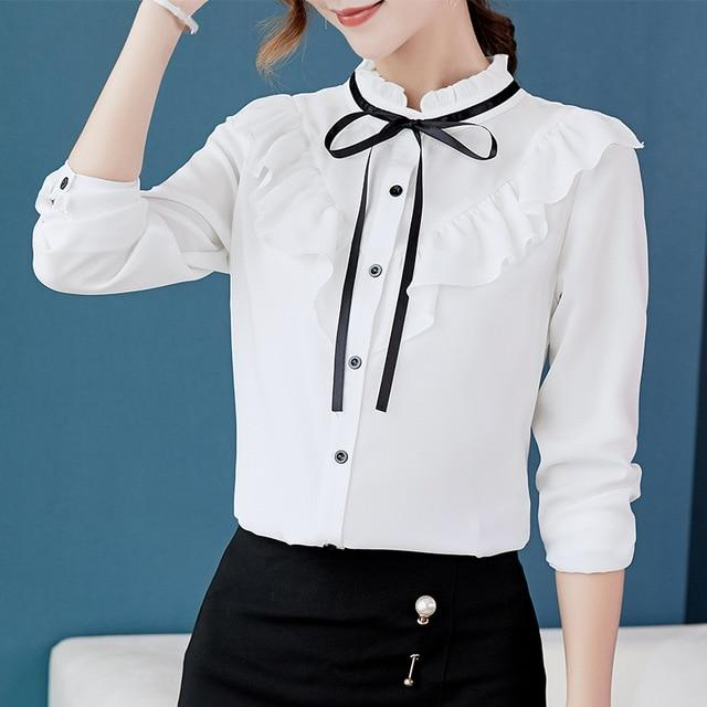 Autumn 2018 Women White Shirt Long Sleeve Shirt Korean Ruffles Women Clothingrricdress-rricdress