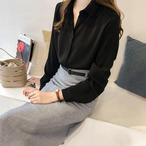 Chiffon Blouse Shirts Women Plus Size M-4XL Long Sleeve V-neck Female Solidrricdress-rricdress