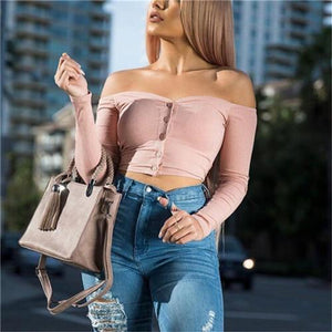 Blouses 2018 Ladies Off Shoulder Tops Women Blouses Crop Top Long Sleeverricdress-rricdress